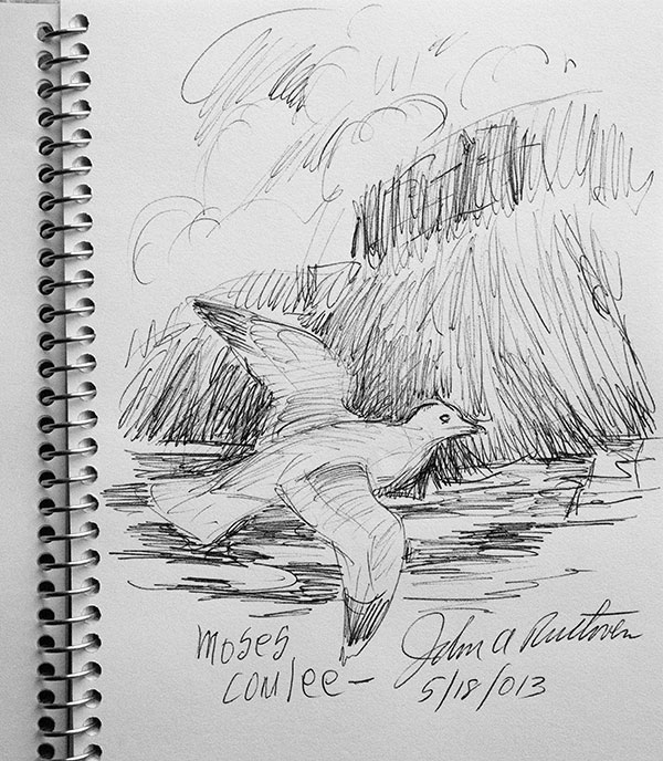 John Ruthven sketch at Moses Coulee